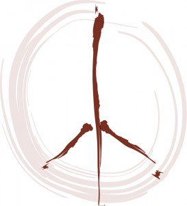 logo depicting bird footprint in a swirled circle evoking a peace symbol