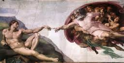Painting of The Creation of Adam by Michaelangelo