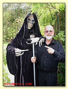 Terry Pratchett stands with a brush with Death thanks to