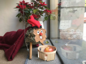 The Tió de Nadal at the Jam Hostel in Barcelona - going to eat that mandarin for SURE