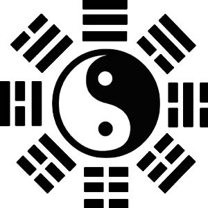 symbol of hexagons and yin and yang to illustrate I ching