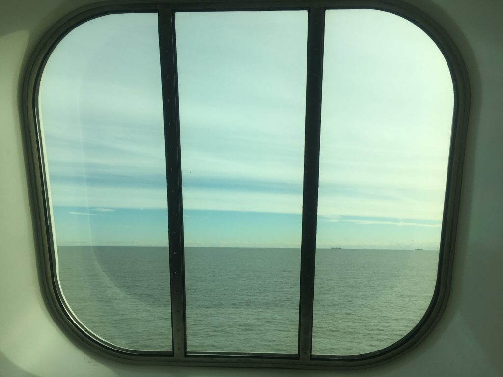 Big view out of the big front windows of the ferry