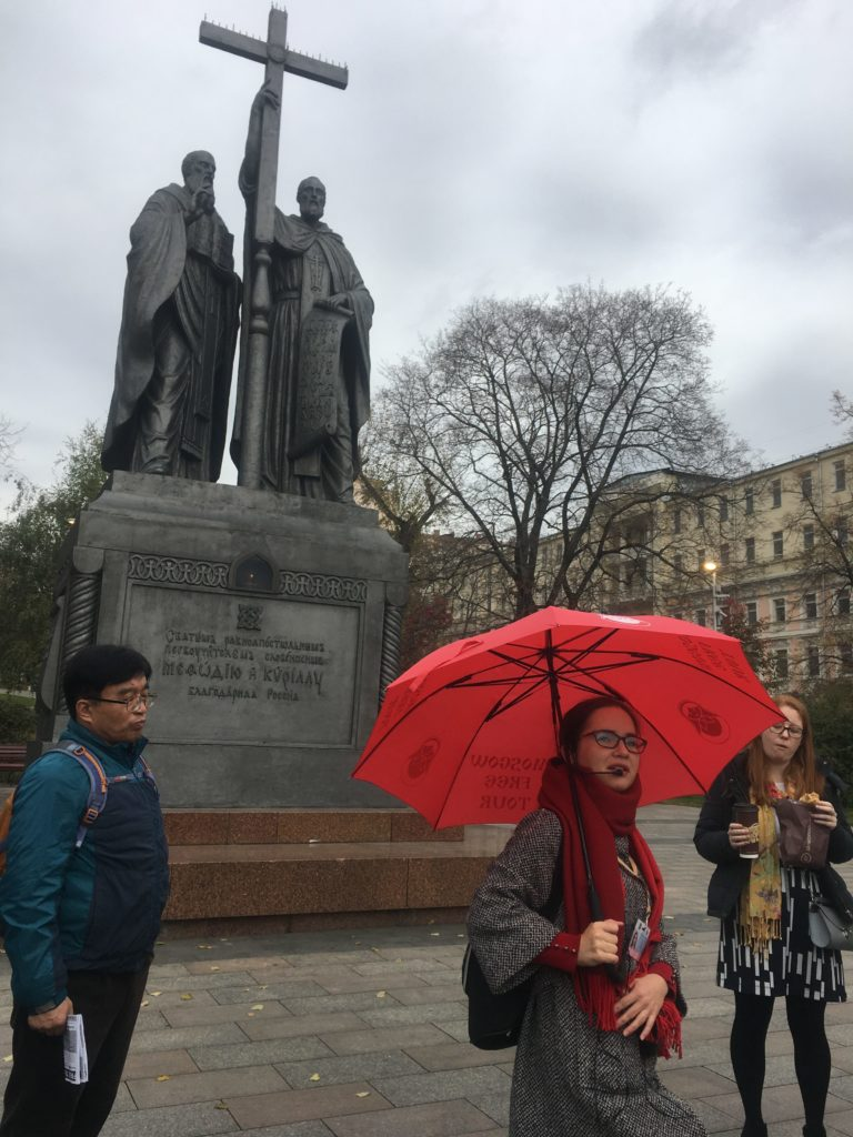 Irena fires up her tour over looked by Cyril and Methodius, inventors of the cyrillic alphabet