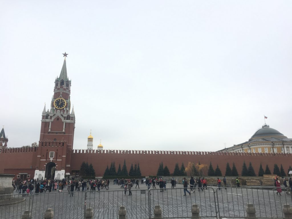 Red Square, showing Kremlin wall and remains of Gastronomic Fair