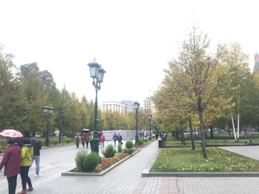 Federal Assembly - the Duma - or Russian Parliament seen through Aleksandrovskly Gardens