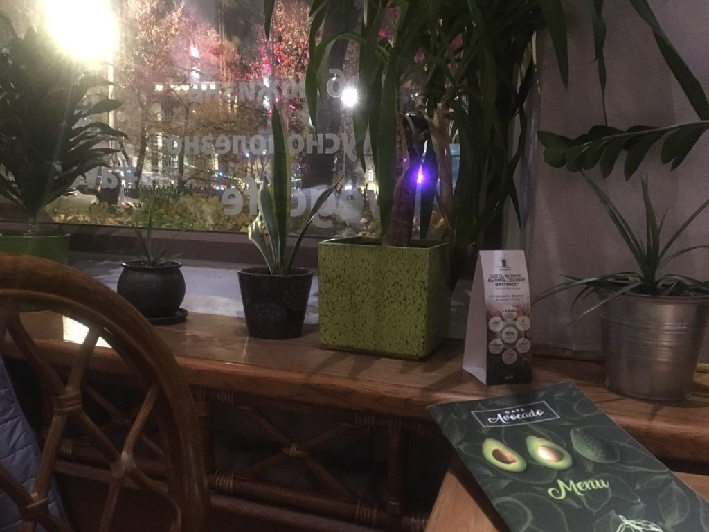 Avocado Cafe, 9 mins from metro, open til 11pm