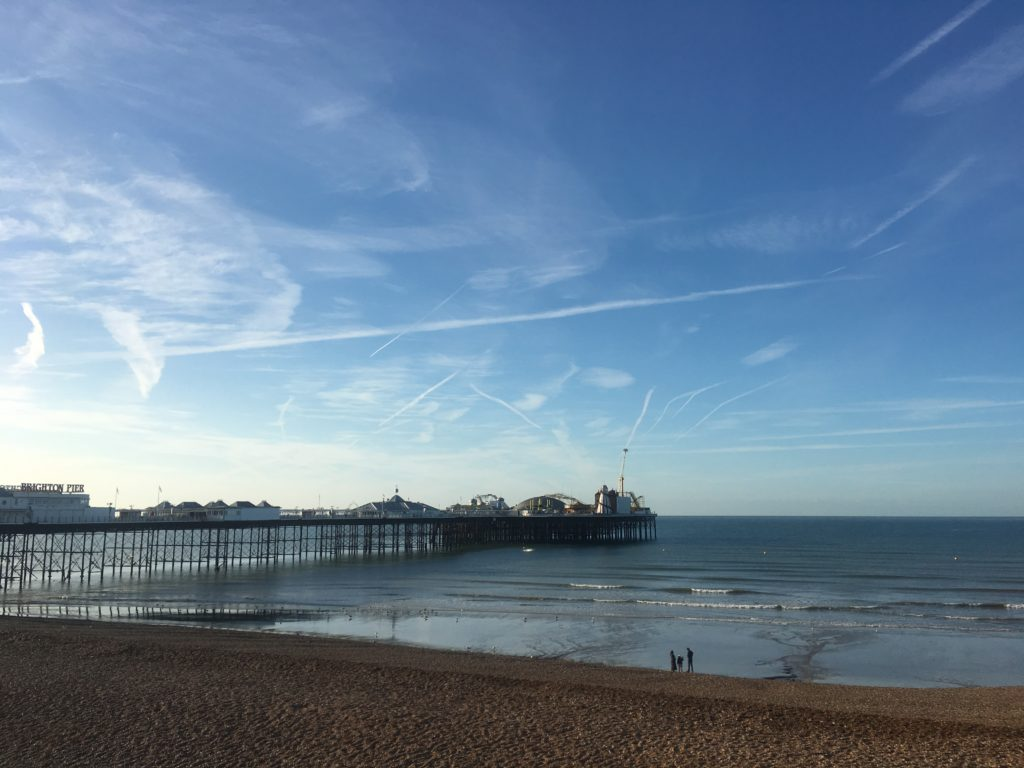 Contrails over Brighton Beach UK