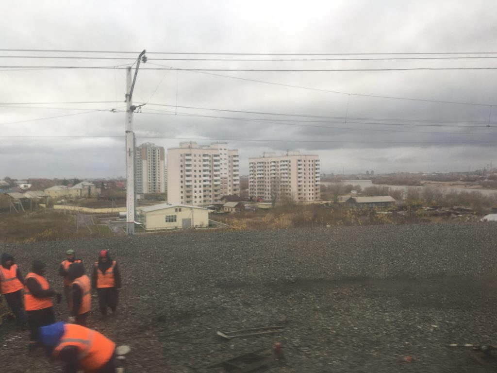 The workers of Omsk maintain the tracks