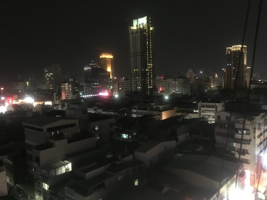 Night inner city Kaohsiung from balcony of R8Hotel