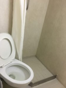 Shower next to the toilet on CC Coral - bio toilet cleaner