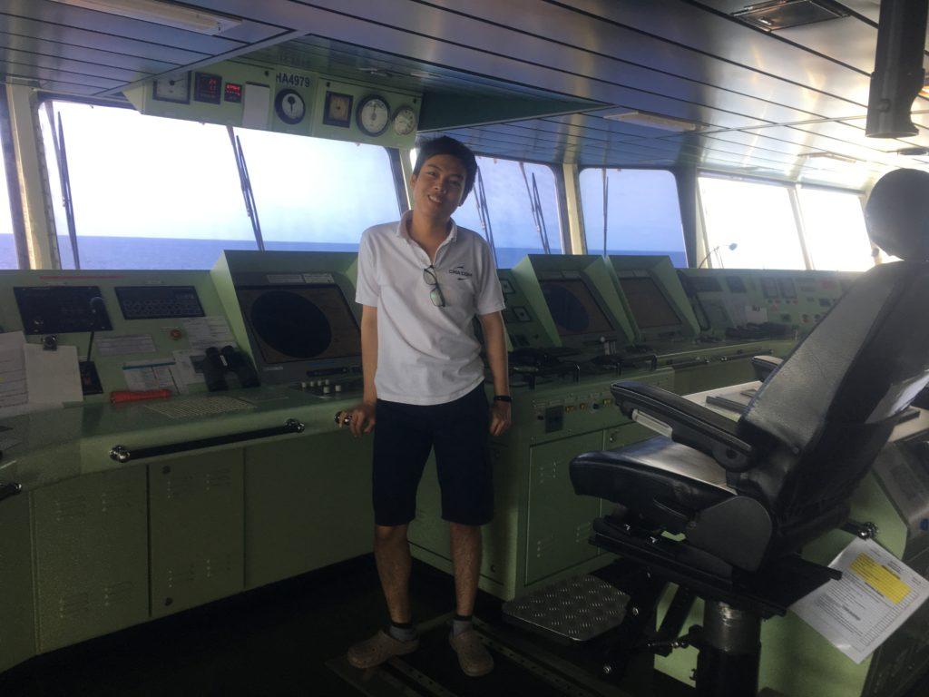 Third Officer Myo Han on the Bridge