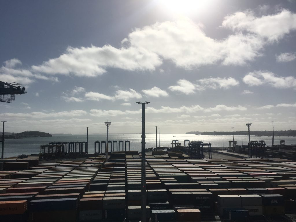 Containers wait to be delivered to or from in Ports of Auckland