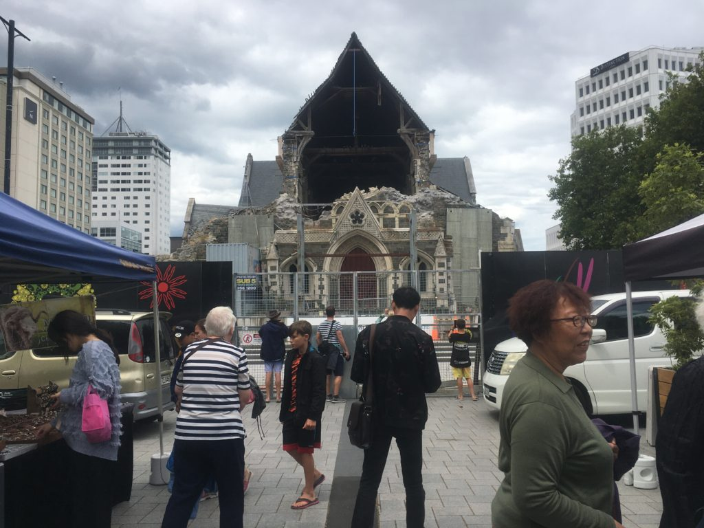 Tourist Eye POV of damaged Christchurch Cathedral