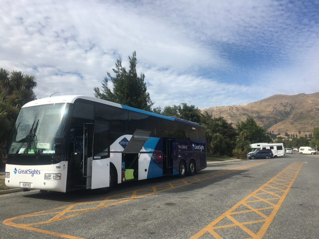 Great Sights bus at Ely Point Recreational reserve near Wanaka