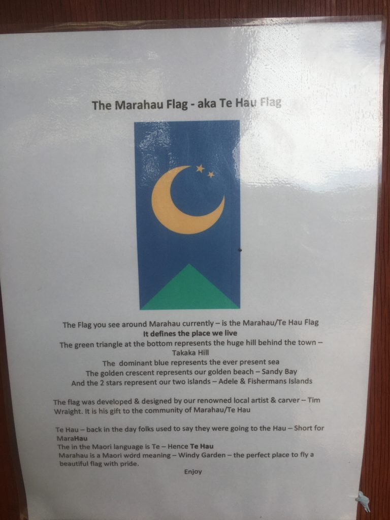 Meaning of the moon and mountain Golden Bay flag