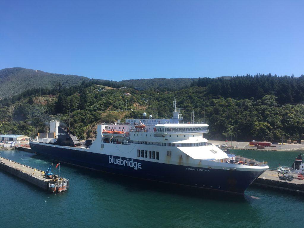 Bluebridge Ferry parked in Picton