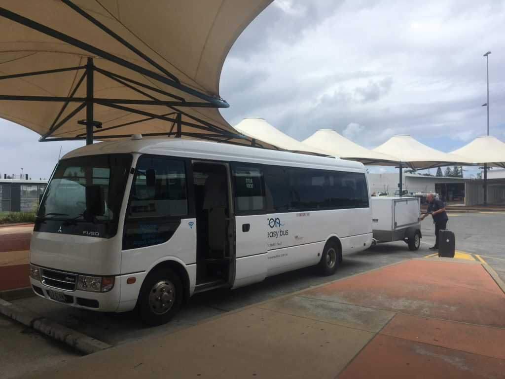 Byron Easy Bus stopped at the Gold Coast Airport